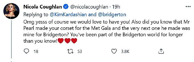 Kim Kardashian west mentioned by bridgerton star
