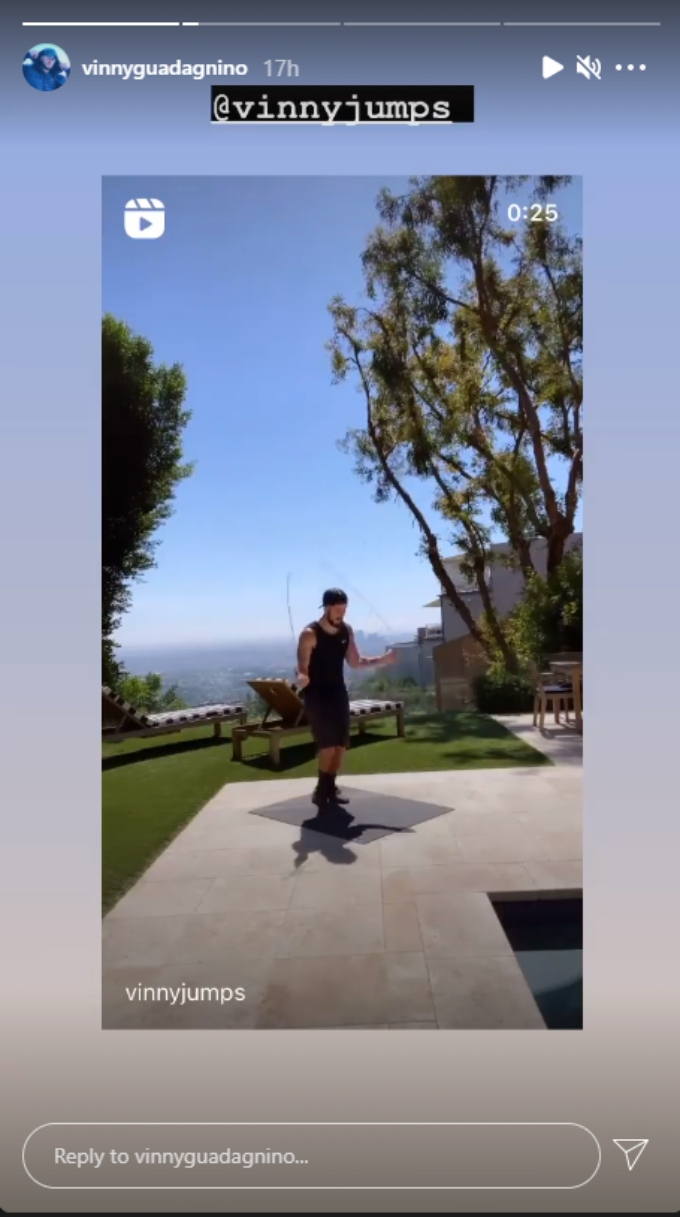 Vinny Guadagnino working out by the pool
