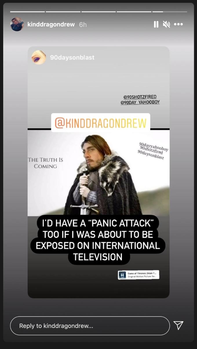 Andrew's Instagram story