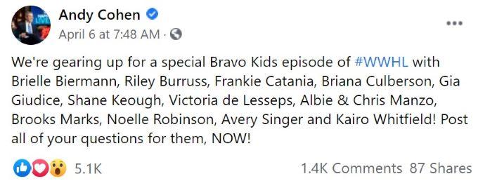 Screenshot of Andy Cohen's Bravo Kids announcement.