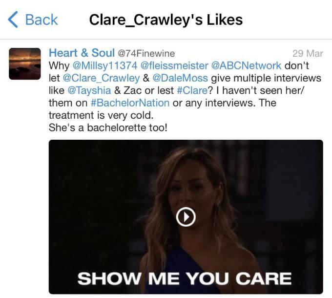 Clare Crawley liked a fan tweet.
