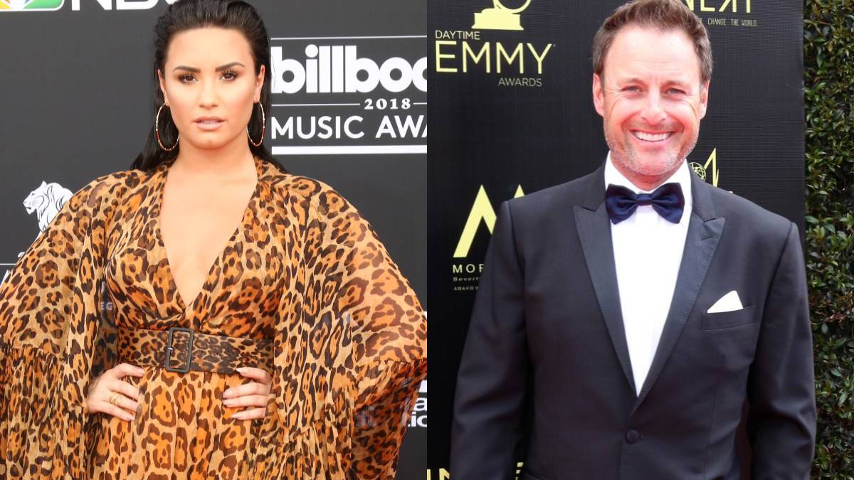 Demi Lovato and Chris Harrison on the red carpet.