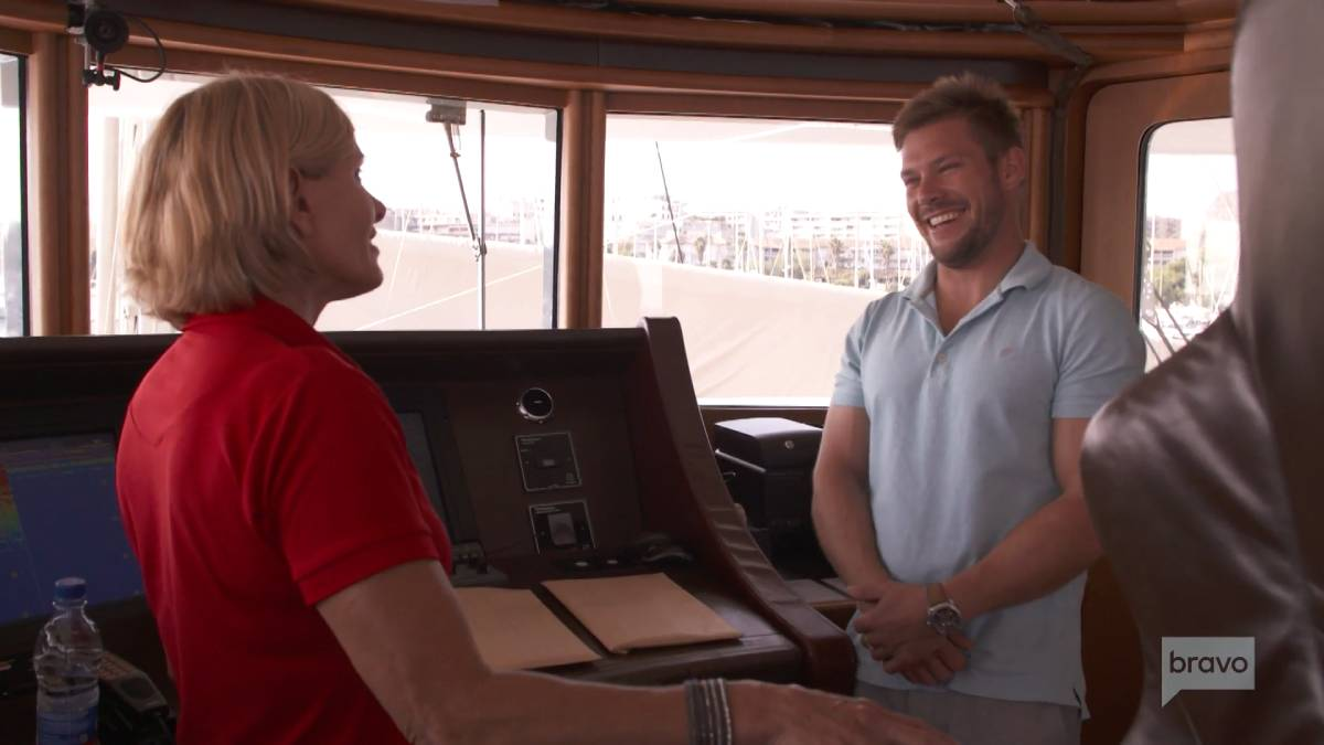 Joao Franco and Sandy Yawn film for Below Deck Med