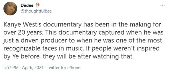 screenshot from Kanye West fan.