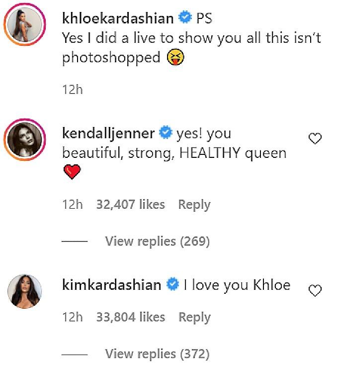 Khloe Kardashian sisters comment on IG.