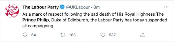 Labour Party Tweet about Prince Philip's death