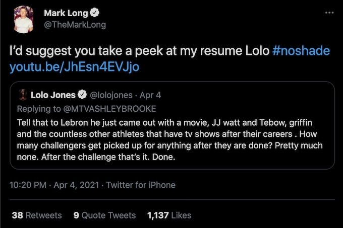 mark long suggests lolo jones check out resume