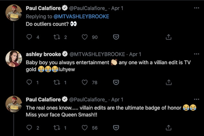 paulie calafiore and ashley mitchell tweets