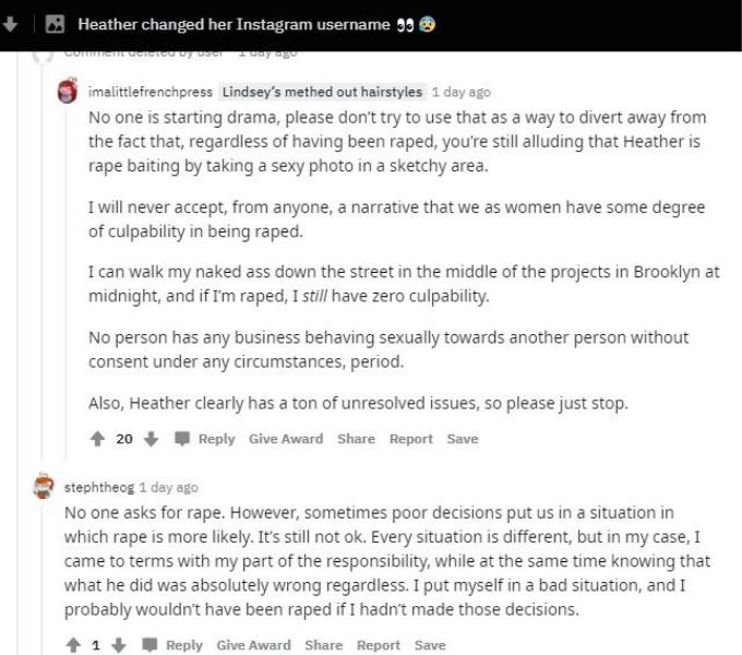 Reddit thread about Heather from Love After Lockup