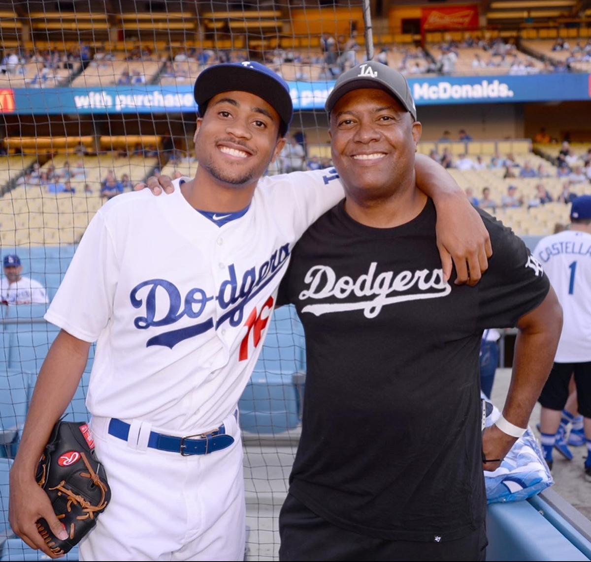 R.J. and Rodney Peete at the baseball