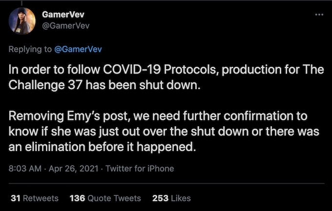 gamervev the challenge season 37 tweet