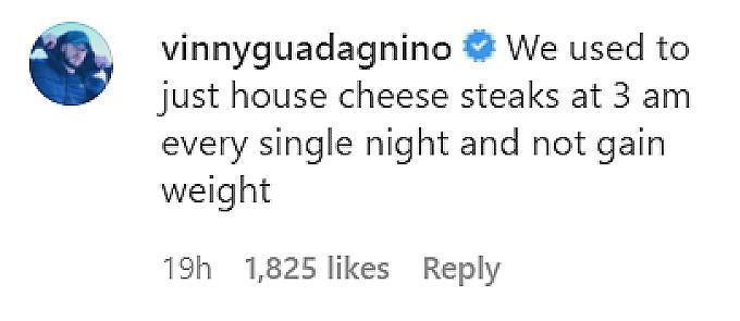 Vinny Guadagnino commented on an Instgram post.