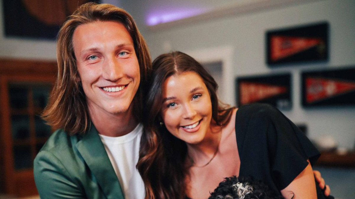 trevor lawrence and wife marissa mowry during nfl draft night