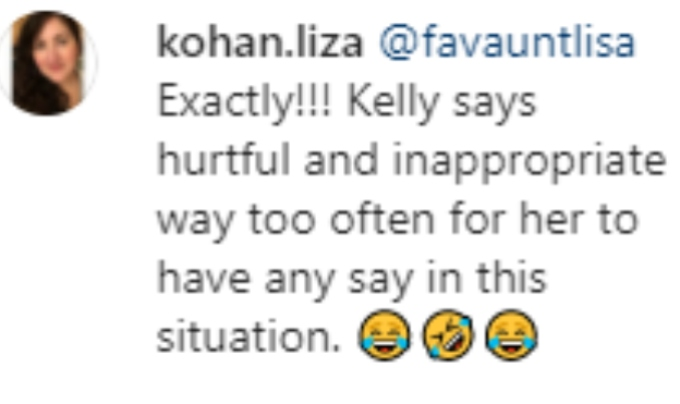A fan thinks Kelly shouldn't judge Chrissy based on her behavior