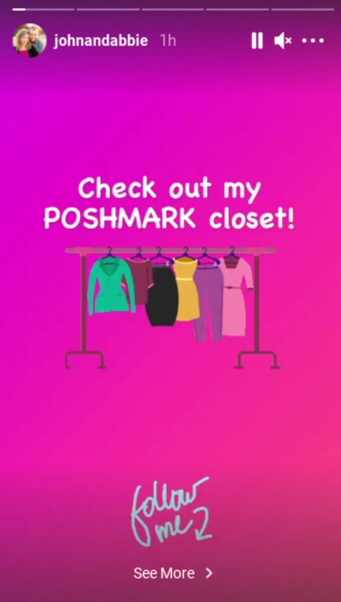 Abbie announcing her Poshmark.