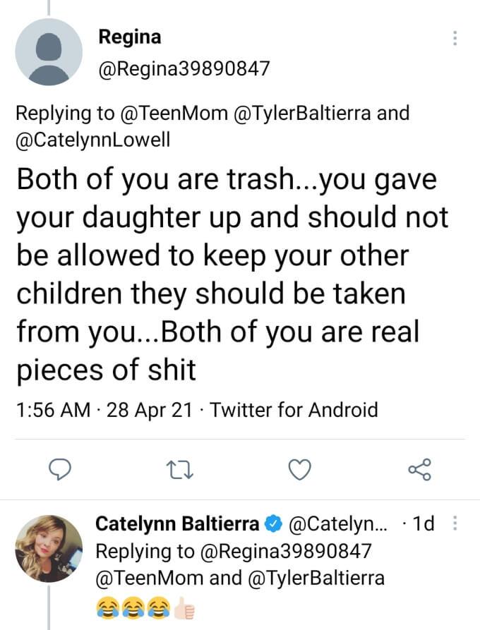Catelynn Baltierra of Teen Mom OG on Teen Mom's Twitter