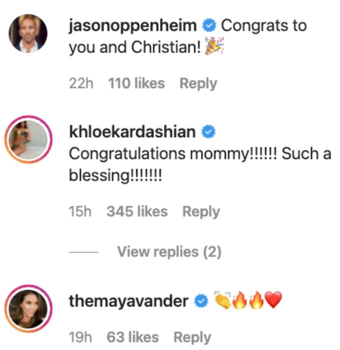 Christine's costars share congrats on her son.