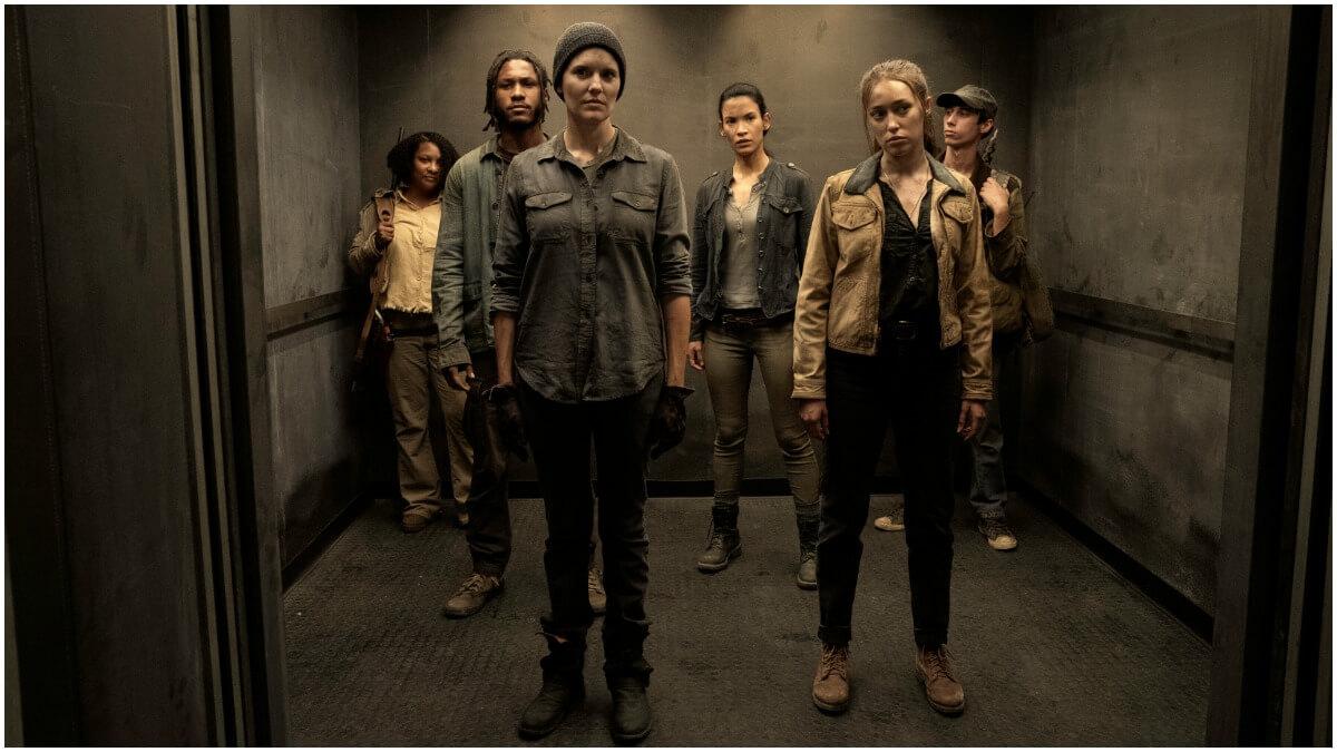 Colby Hollman as Wes, Maggie Grace as Althea, Danay Garcia as Luciana, and Alycia Debnam-Carey as Alicia, as seen in Episode 11 of AMC's Fear the Walking Dead Season 6
