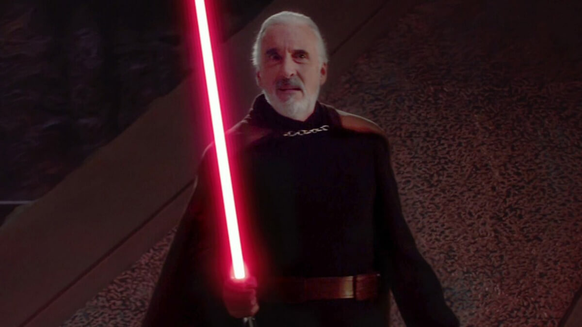 Count Dooku with his lightsaber in battle