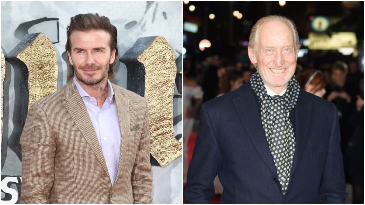 David Beckham and Charles Dance on the red carpet