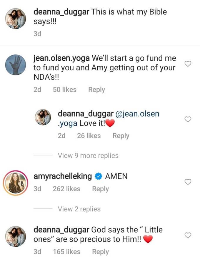 Deanna Duggar IG comments
