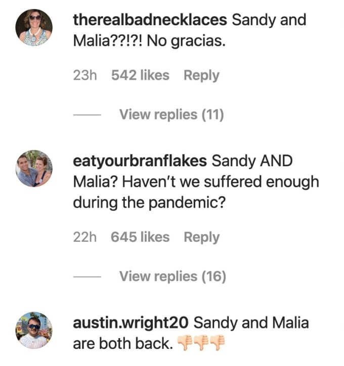 Fans compare suffering of Malia and Captain Sandy to a pandemic.