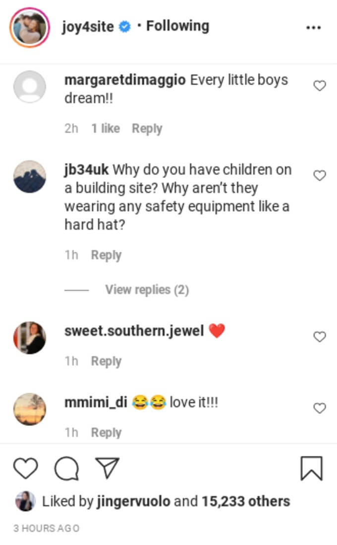 Comments on Joy-Anna's Instagram.