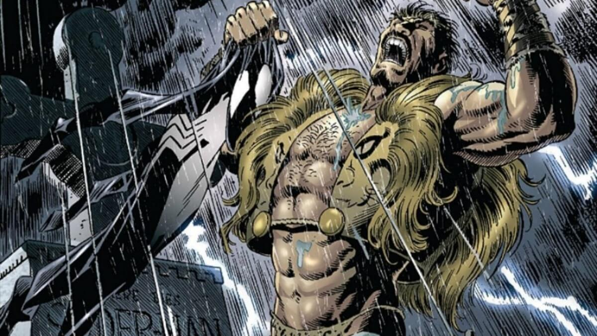 Kraven the Hunter roaring while holding Spider-Man's costume