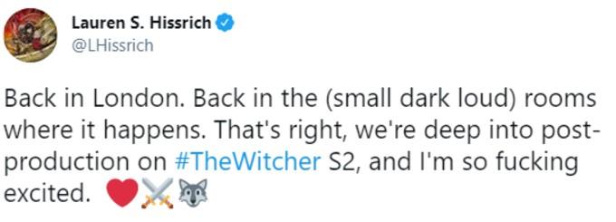 Lauren Hissrich tweet