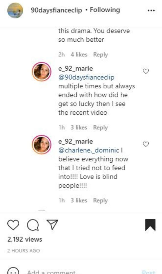 IG comments from Liz about Big Ed