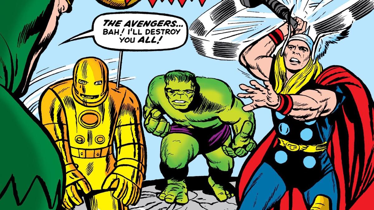 Loki battling Avengers for the first time