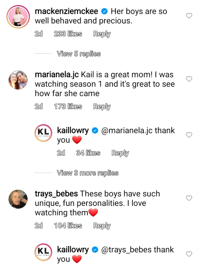 Mackenzie McKee of Teen Mom OG and Kail Lowry of Teen Mom 2 on Instagram