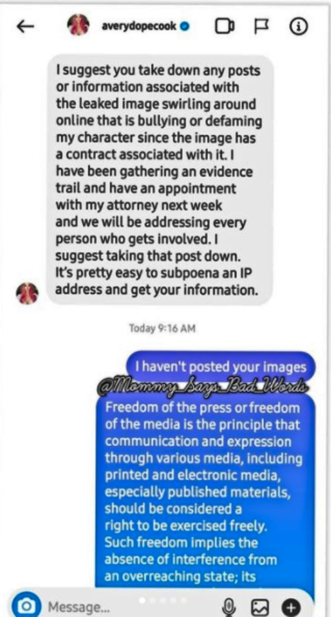 Avery Warner threatens legal action regarding leaked pic