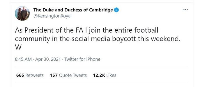 Prince William tweet.