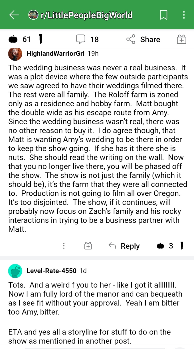 Matt and Amy Roloff of LPBW on Reddit