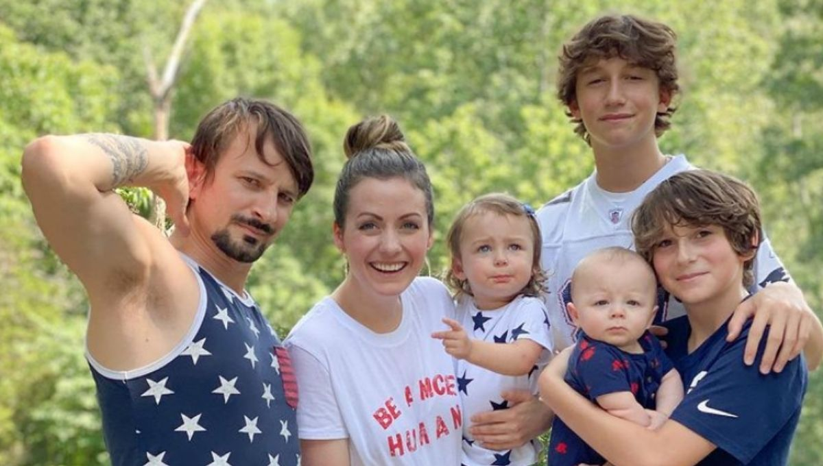 Carly Waddell and Evan Bass with their family