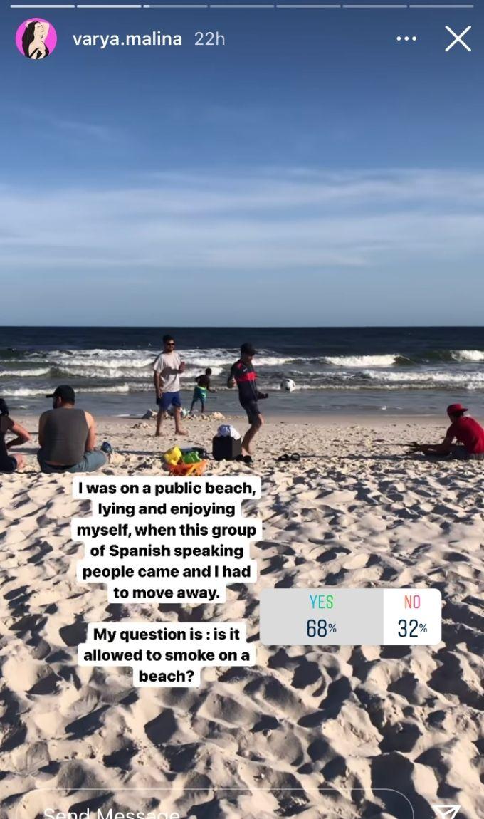 Ig story post from Varya Malina