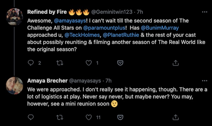 former real world star amaya brecher replies about possible rw cast reunion