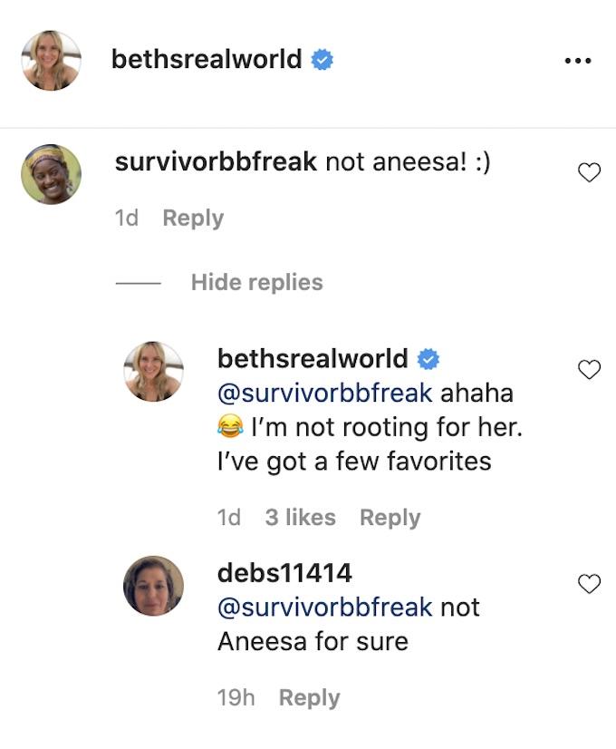 beth stolarczyk comment regarding aneesa all stars final