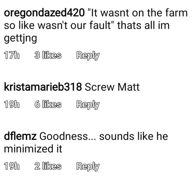 Comments calling out Matt Roloff