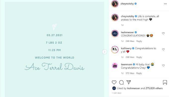 Birth announcement from Teen Mom OG star Cheyenne Floyd.