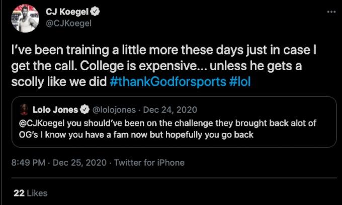cj koegel tweets about the challenge