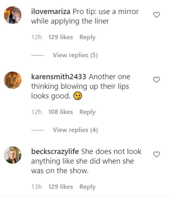 Instagram comments on Deavan Clegg.
