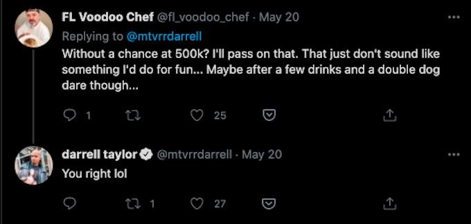 the challenge darrell taylor fan replies to dare tweet