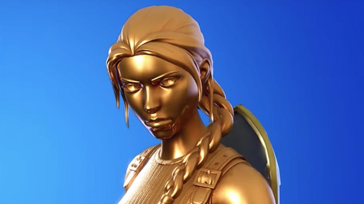 gold lara croft skin from epic games fortnite