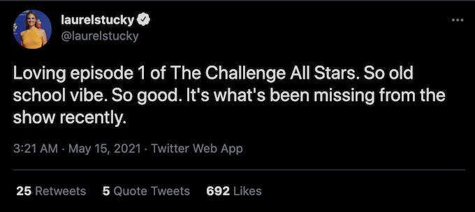 the challenge star laurel stucky tweets about all stars spinoff