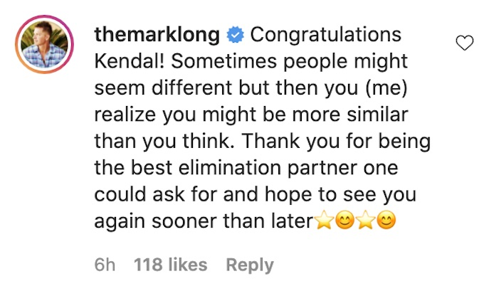 the challenge mark long comments to all stars castmate