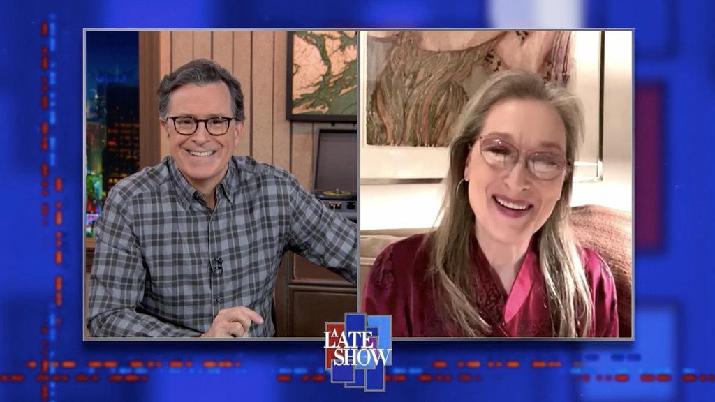Stephen Colbert interviewing Meryl Streep