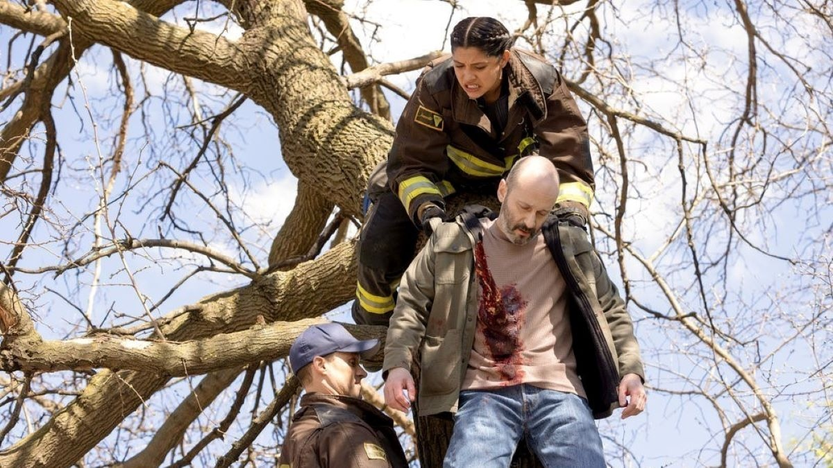Jesse Spencer and Miranda Rae Mayo on the set of Chicago Fire