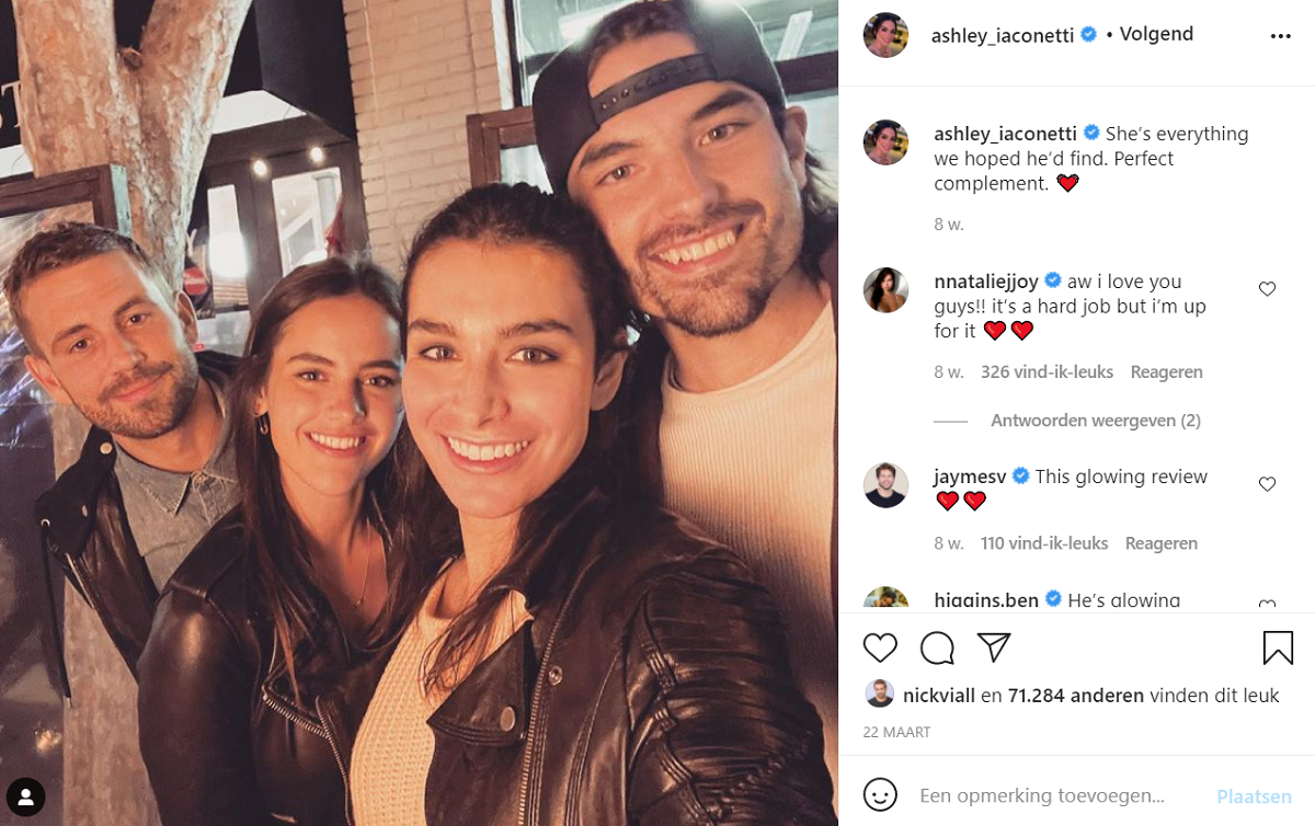 Nick Viall and Natalie joy pose with Ashley Iaconetti and Jared Haibon on a date night